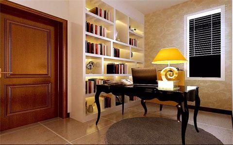书房背景墙现代简约风格装修图片
