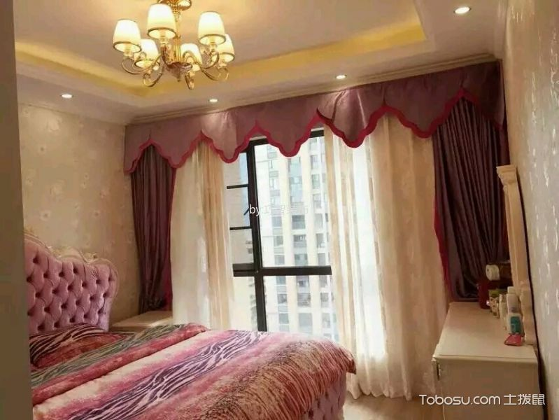卧室粉色窗帘田园风格效果图