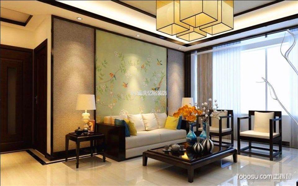 客厅黄色地砖新中式风格装潢设计图片