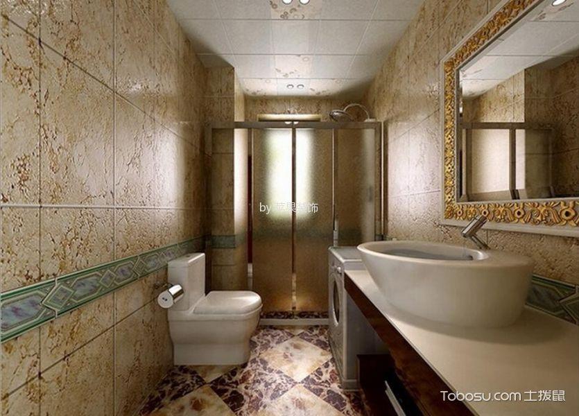 卫生间黄色背景墙简欧风格装潢效果图