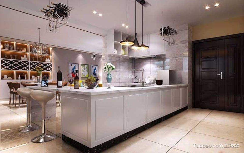 厨房白色吧台简约风格装潢图片