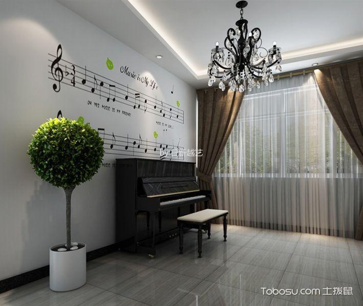 客厅咖啡色窗帘后现代风格装潢图片