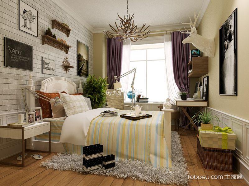 卧室紫色窗帘北欧风格装修设计图片
