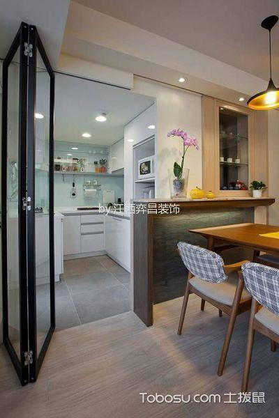 厨房白色吧台新中式风格装饰图片