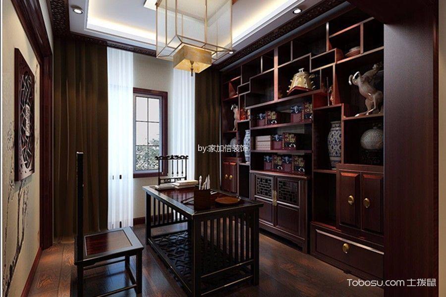 书房咖啡色窗帘中式风格装修设计图片