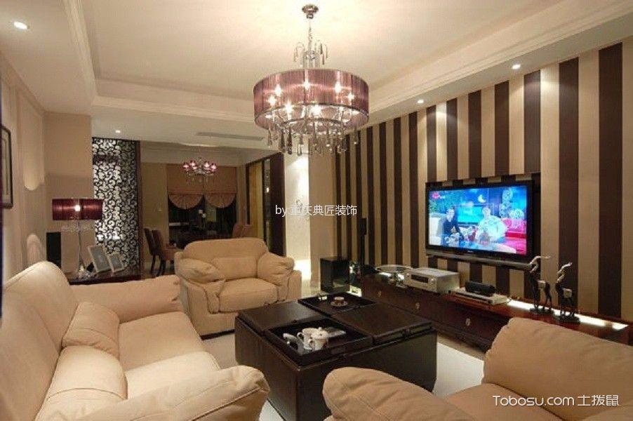 客厅紫色灯具美式风格装修图片