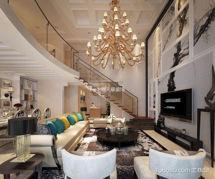客厅米色楼梯北欧风格装修设计图片