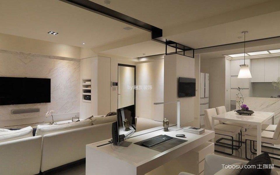 客厅白色书桌现代风格装饰图片