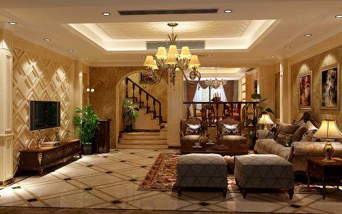 简美豪华设计,墙纸体现整体的色调和业主的品味