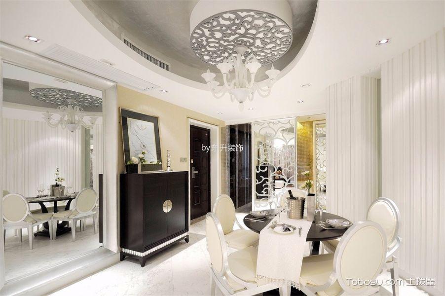 餐厅白色灯具简欧风格装潢效果图