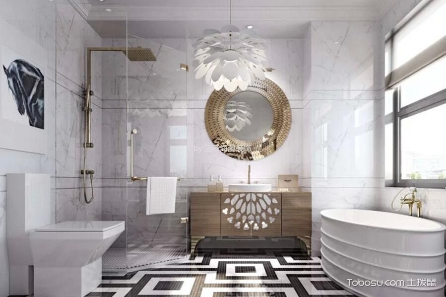 卫生间白色窗台现代风格装修图片