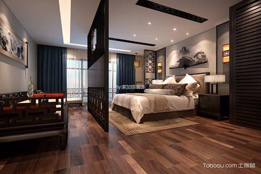 卧室黑色隔断中式风格装饰效果图