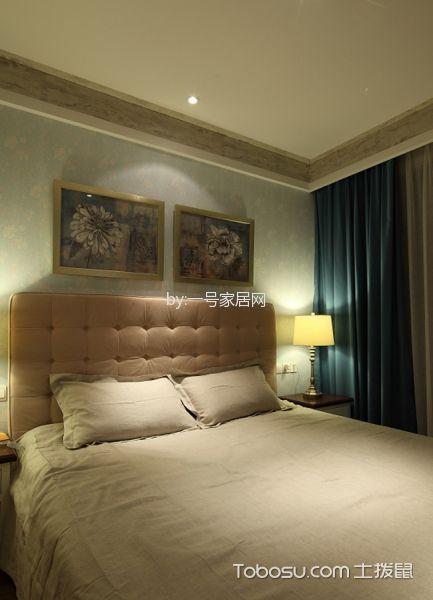 卧室绿色窗帘北欧风格装潢效果图