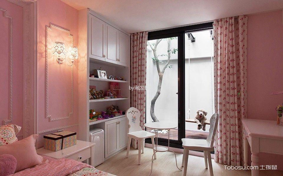 儿童房粉色窗帘混搭风格装饰设计图片