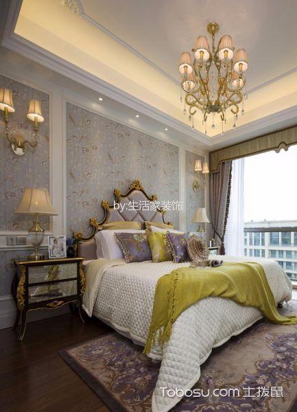 卧室紫色床法式风格装潢效果图