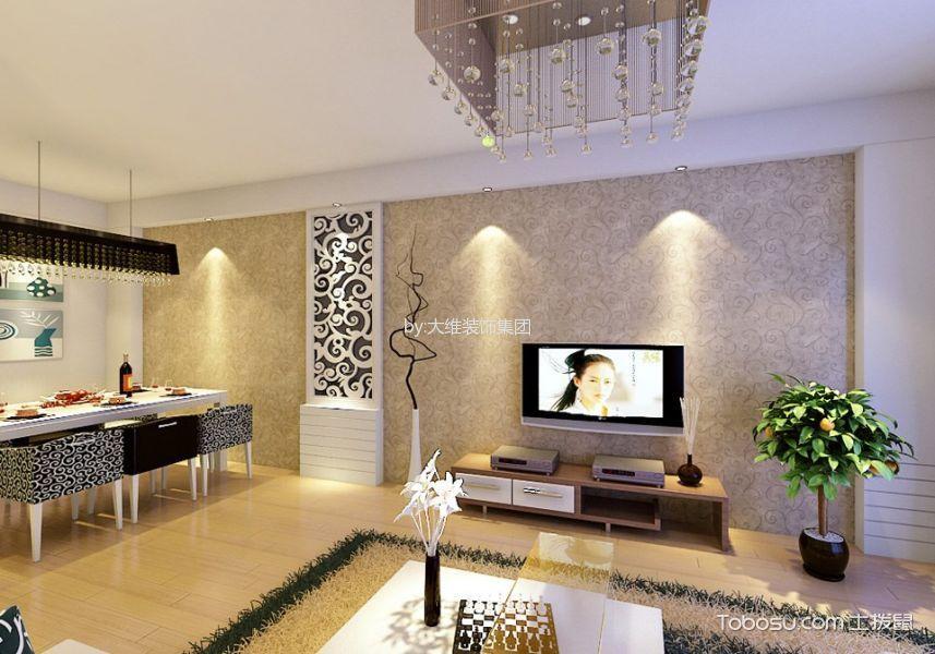御景湾98平米现代风格二居室装修效果图