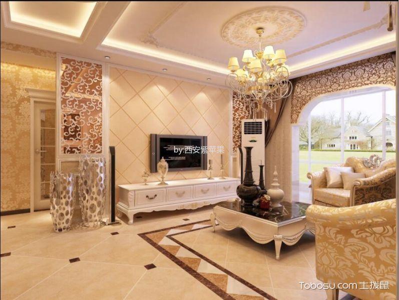 客厅黄色地砖简欧风格装潢效果图