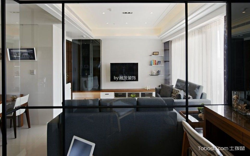 书房咖啡色书桌北欧风格装修效果图