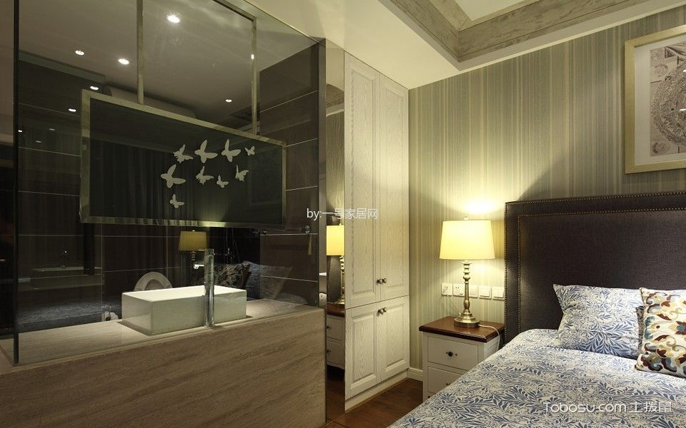 卧室白色床头柜北欧风格装饰图片