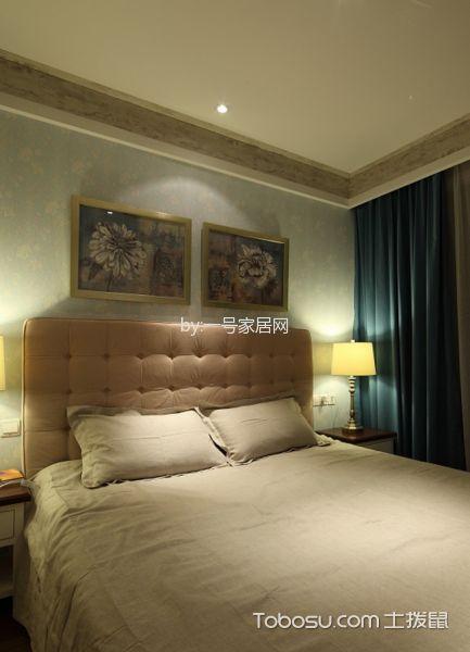 卧室绿色窗帘北欧风格装修效果图