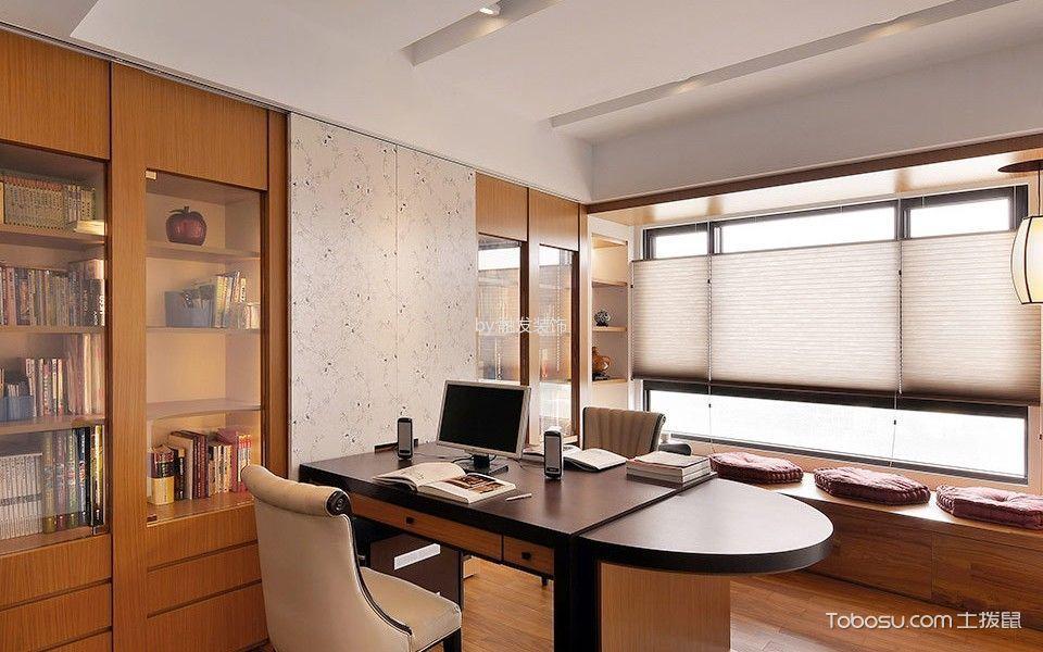 书房黄色书桌混搭风格装饰设计图片