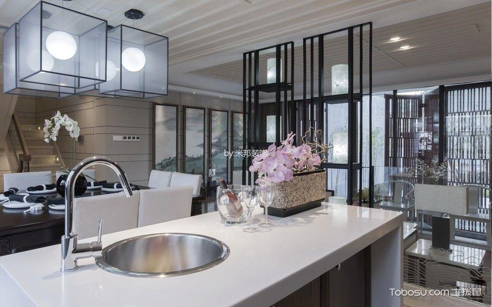 厨房白色吧台新中式风格装修效果图