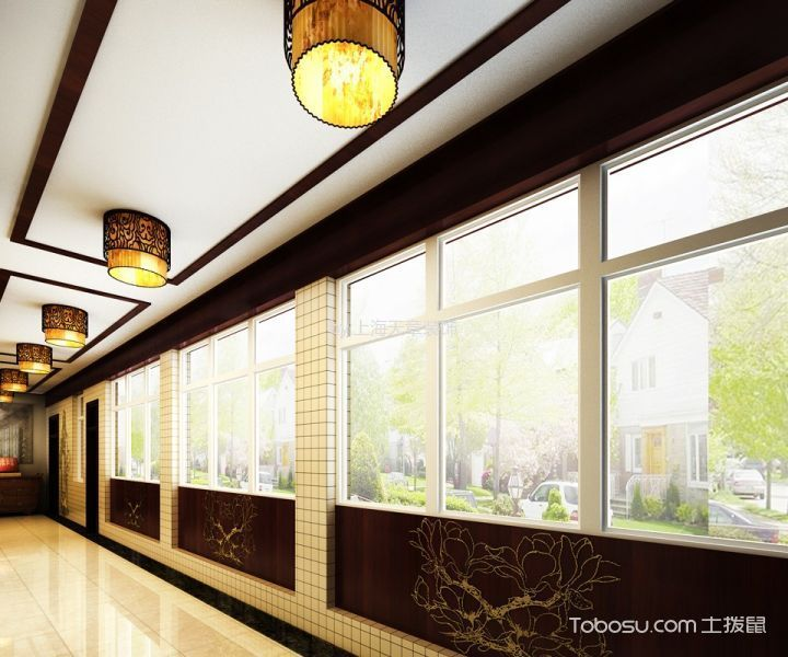 荥阳市卫生院中医馆古典中式风格装修效果图--走道窗台设计