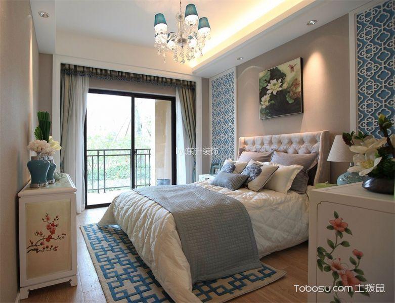 卧室灰色窗帘新中式风格装修图片