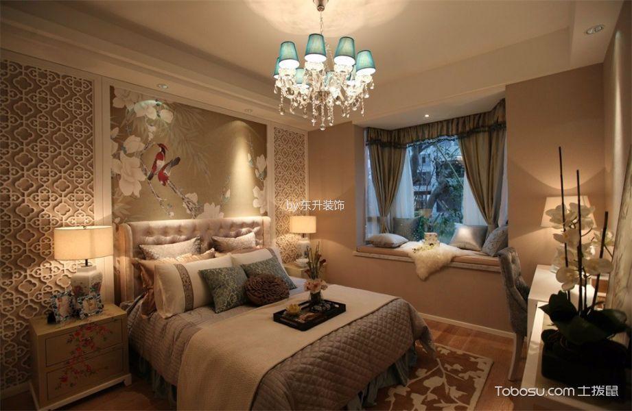 卧室橙色飘窗新中式风格装潢图片
