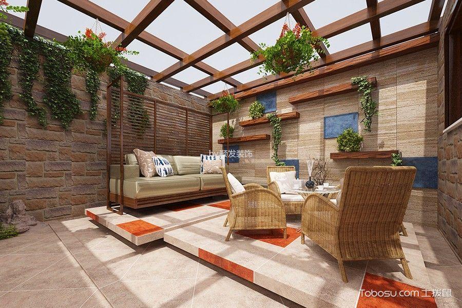 花园 背景墙_时代奥城120㎡新中式效果图