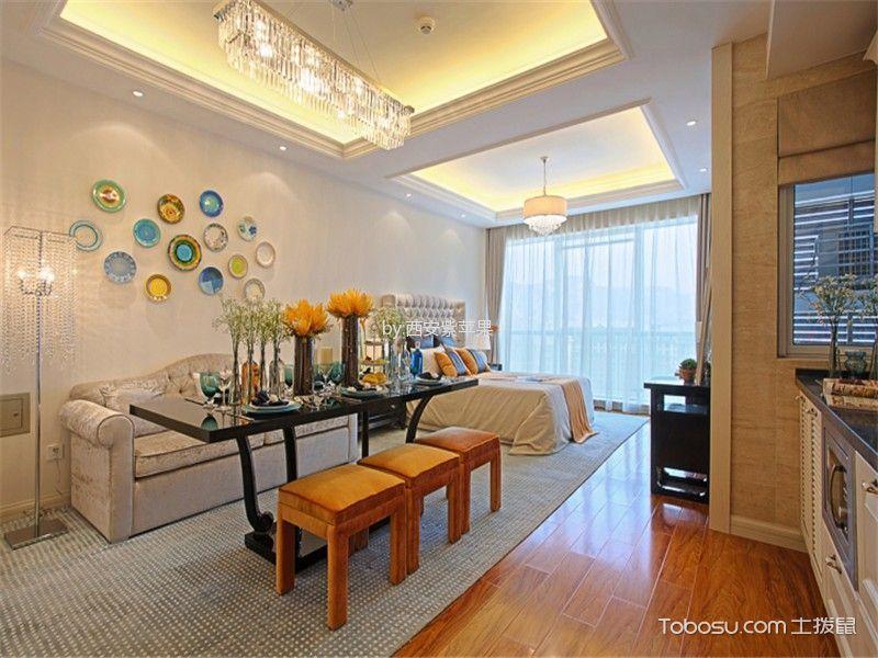 客厅橙色地板砖田园风格装修效果图
