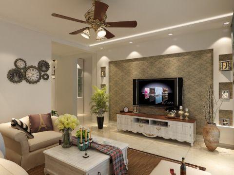 千禧119平米美式田园风格三室两厅装修效果图