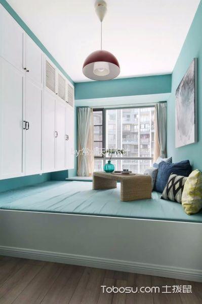 卧室蓝色榻榻米北欧风格装潢设计图片