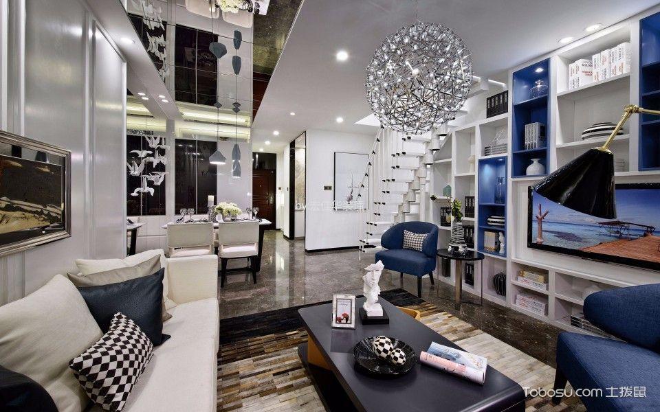 客厅白色楼梯北欧风格装潢效果图