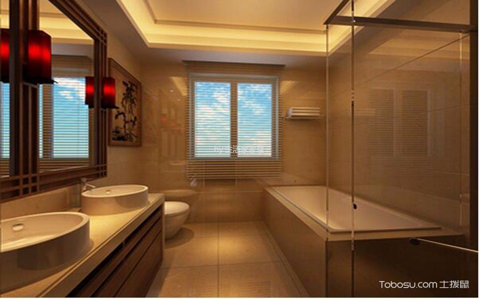 卫生间黄色隔断新中式风格装潢设计图片