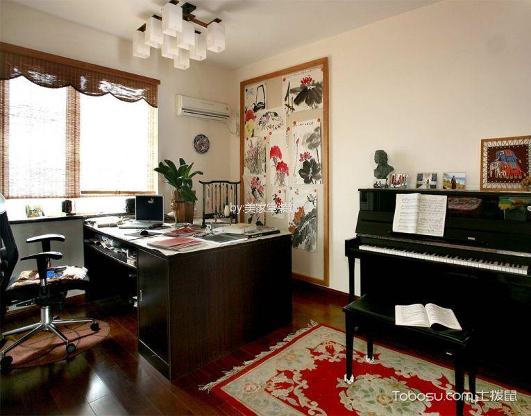 书房咖啡色窗帘东南亚风格装饰设计图片