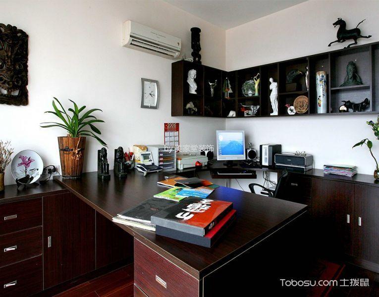 书房白色背景墙东南亚风格装饰效果图