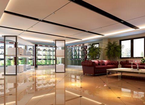 办公楼1380平方现代中式风格效果图案例