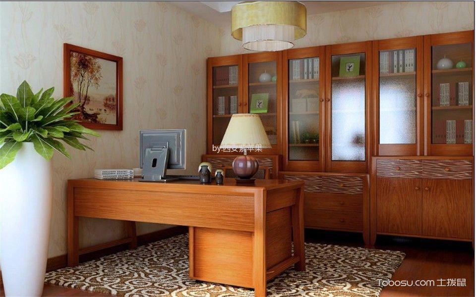 书房橙色书桌东南亚风格装饰效果图