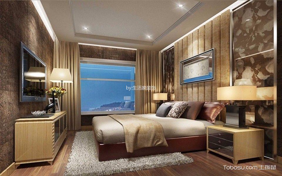卧室黄色电视柜美式风格装潢设计图片