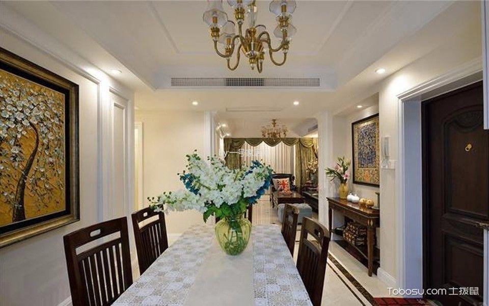 餐厅黄色灯具美式风格装潢设计图片