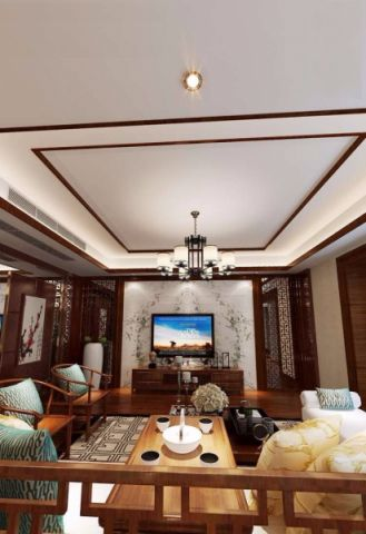客厅吊顶简中风格装饰效果图