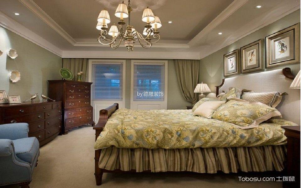 卧室白色灯具美式风格装修效果图
