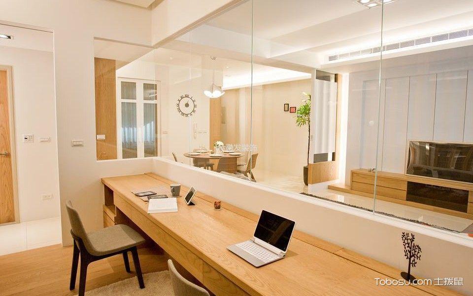 书房黄色书桌混搭风格装修图片