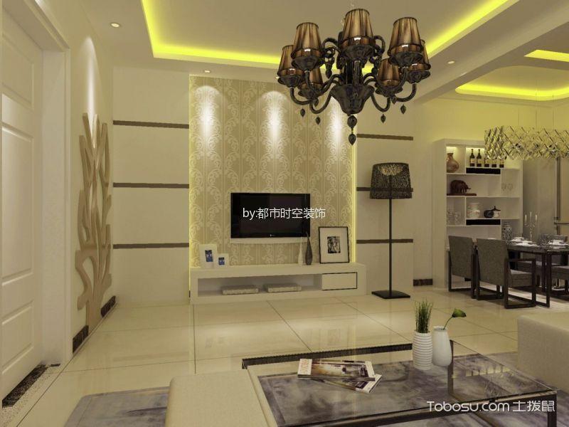 东泊城87平米现代风格二居室装修效果图