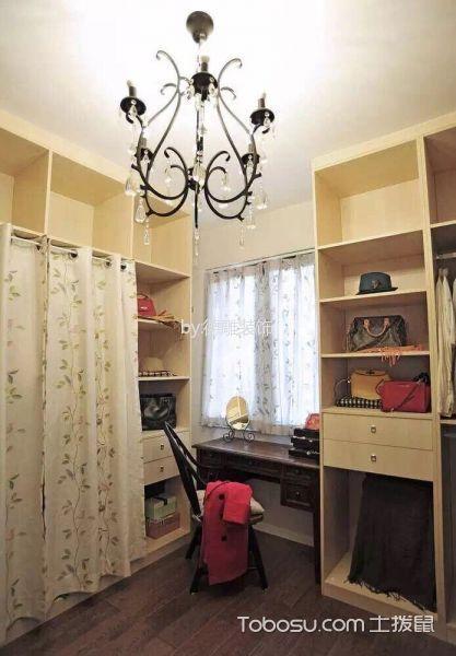 衣帽间黄色衣柜美式风格装潢设计图片