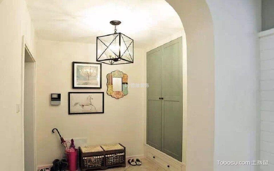玄关白色背景墙美式风格装潢效果图