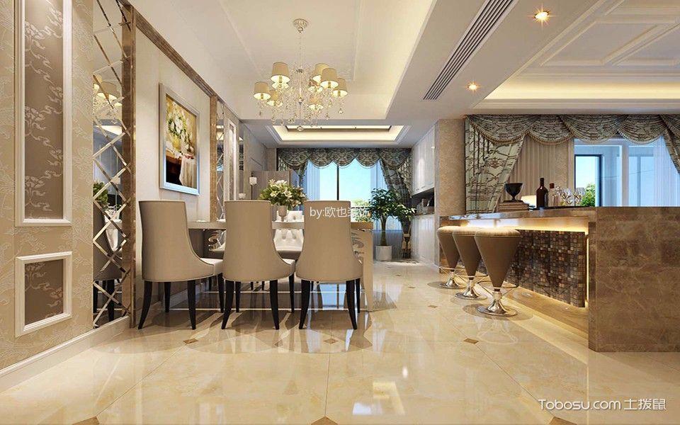 餐厅黄色地砖简欧风格装潢效果图