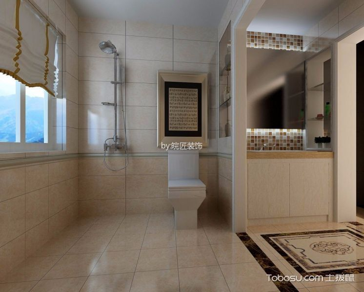 卫生间白色窗台现代风格装饰设计图片