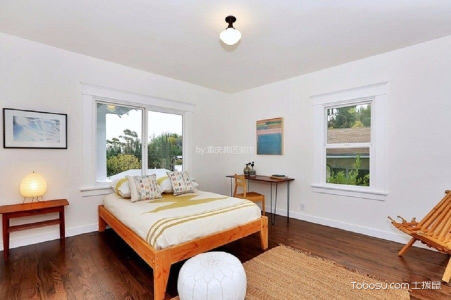 卧室咖啡色地板砖北欧风格装潢图片